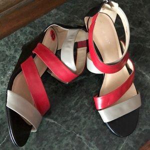 Nine West wrap wedge patent heels zip heel 10M